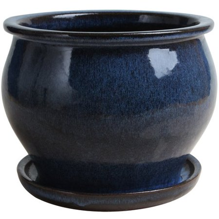 Lee S Pottery Blue Ceramic Glazed Planter 8 In H