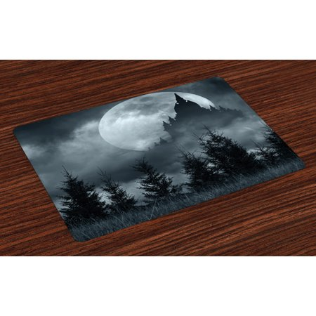 Halloween Placemats Set of 4 Magic Castle Silhouette over Full Moon Night Fantasy Landscape Scary Forest, Washable Fabric Place Mats for Dining Room Kitchen Table Decor,Grey Pale Grey, by Ambesonne - Et Magic Of Halloween