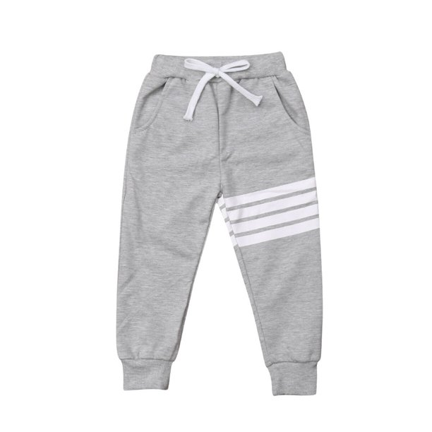 Kids Baby Toddler Boy Girl Striped Cotton Joggers Casual Track Pants Trousers