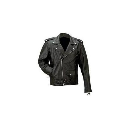 Solid Genuine Buffalo Leather Jacket- -