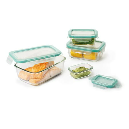 oxo good grips 8-pc. smart seal glass rectangle container set