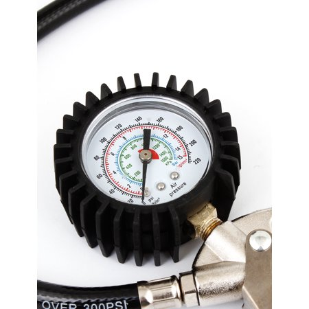 Auto Motorcycle Tire Inflator Gun w Pressure Gauge 0-15 Bar 0-220 Psi ...