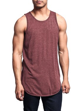 4aa7a3b0cff605 G-Style USA Solid Color Long Length Curved Hem Tank Top TT47 - NAVY -