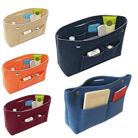 Women Insert Handbag Organiser Purse Felt liner Organizer Bag Tidy Travel Portable Blue ()