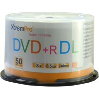 Blank CD DVD+R DL 8X 8.5GB 240Min Recordable White Inkjet Printable Double Layer DVD 50 Pack Storage Media in Spindle