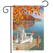 "Fall Reflection Lake Garden Flag Adirondack Outdoors Autumn Sunset 12""x18"""