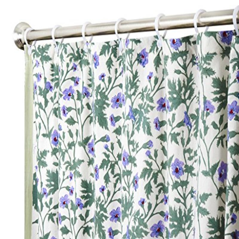 Unique Shower Curtains Designer Fabric Modern Purple Shower Curtain 72 Inches with Flowers