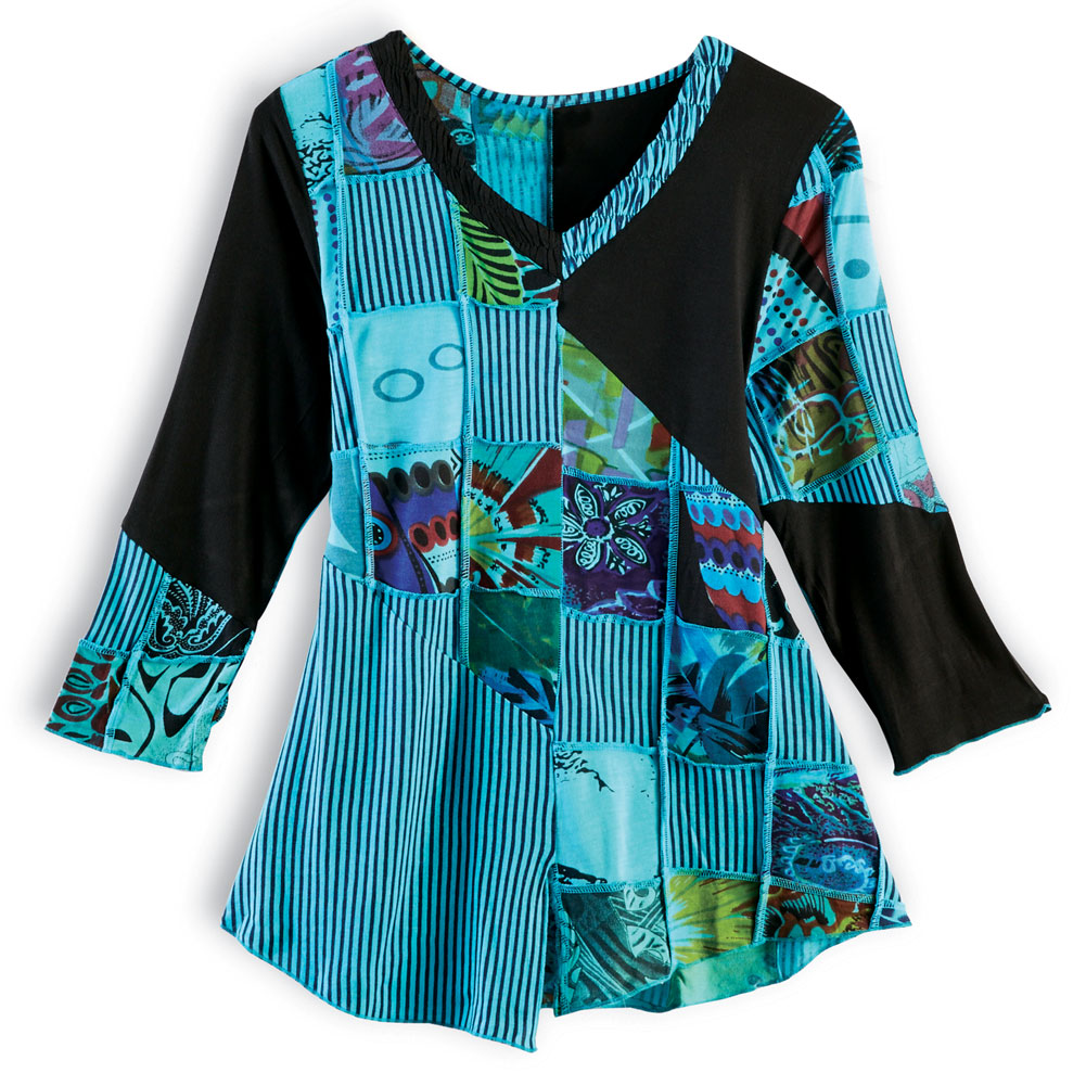 Women's Patchwork Tunic Top - Turquoise Blue & Black Stripes Shirt