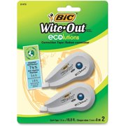 "BIC Wite-Out Ecolutions Mini Correction Tape, White, 1/5"" x 235"", 2/Pack"
