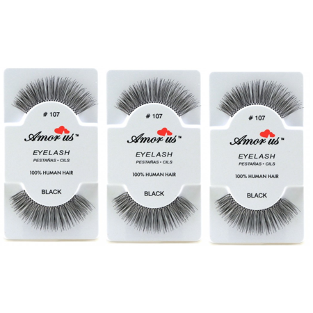 LWS LA Wholesale Store  3 Pairs AmorUs 100% Human Hair False Long Eyelashes # 107 compare Red Cherry - Longs Wholesale