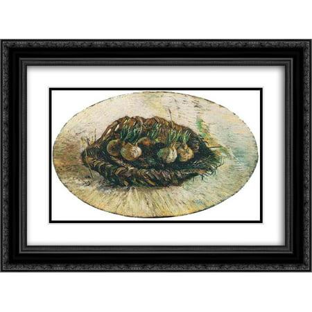 Vincent van Gogh 2x Matted 24x20 Black Ornate Framed Art Print 'Basket of Sprouting Bulbs'
