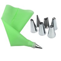 Jeobest Cake Decorating Tips and Bags - Cake Decorating Tools - 8PCS Pastry Nozzles Icing Piping Tip Set + Bag Converter Stainless Steel Kitchen Baking Cake Decorating Tools for Cupcakes Cookies MZ
