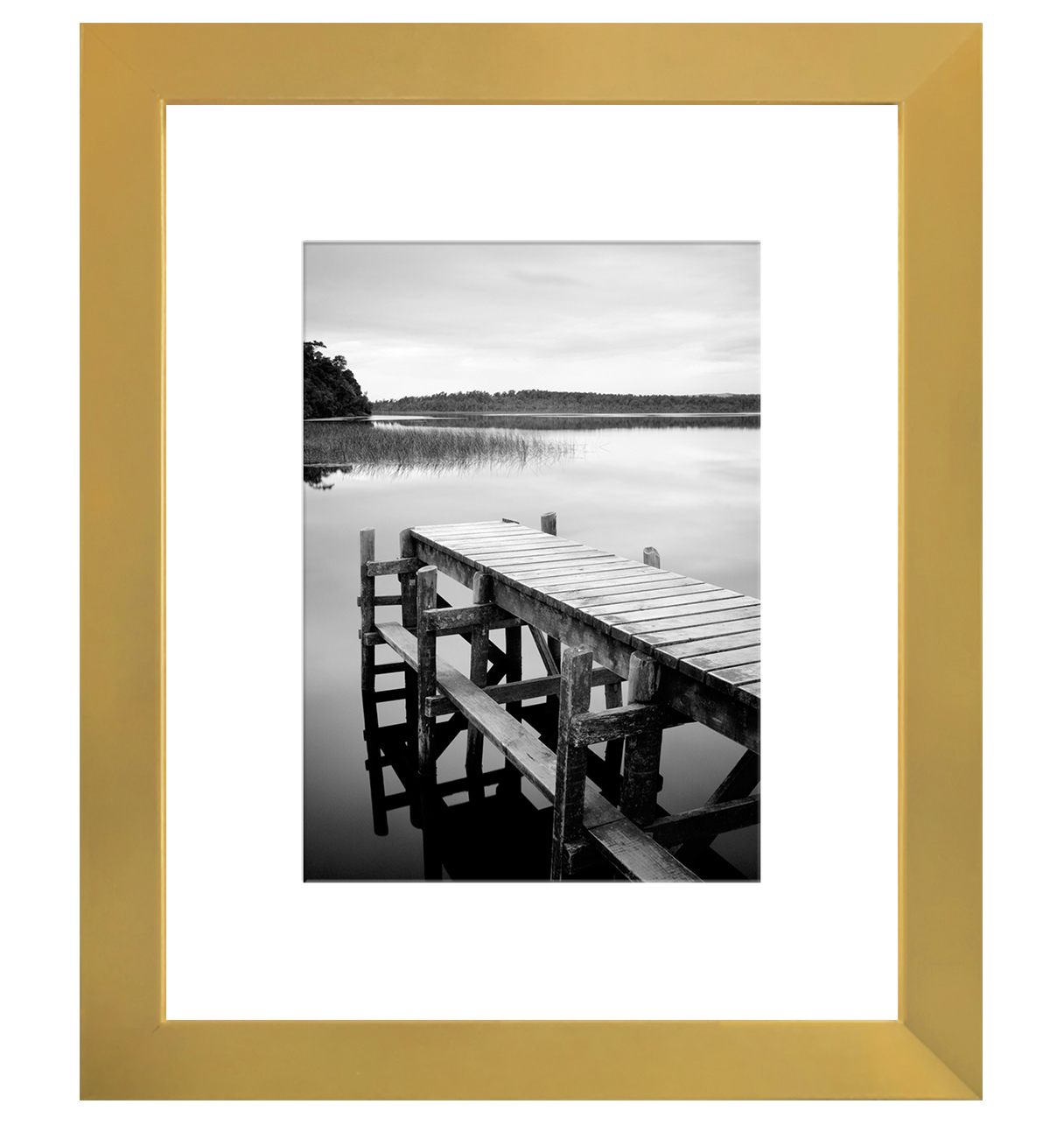 8x10 Gold Picture Frame - Display Photos 5x7 w/ Mat or 8x10 w/o Mat