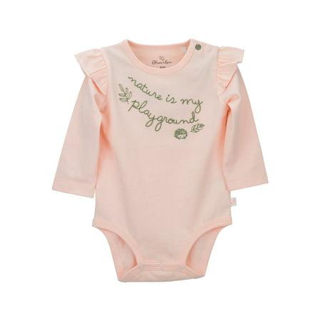 Pink Long Sleeve Ruffle Sleeve Bodysuit (Baby - Girls Pink Stripe Onesie Bodysuit
