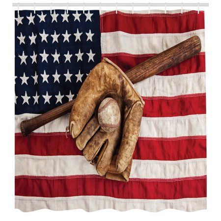 Baseball Shower Curtain Vintage League Equipment Usa Grunge Glove Bat Fielding Sports Theme Fabric Bathroom Set With Hooks Brown Red Blue