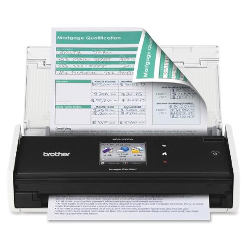 Brother ADS-1500W Sheetfed Scanner - 600 dpi Optical - 30-bit Color - 8-bit Grayscale - 18 - 18 - USB