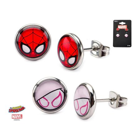 Base Metal Spider-Man and Spider-Gwen Post Stud Earrings Set](Spiderman Jewelry)