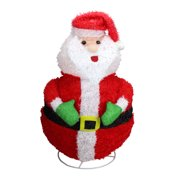 "24"" Red and White Lighted Santa Claus Outdoor Christmas Figurine"