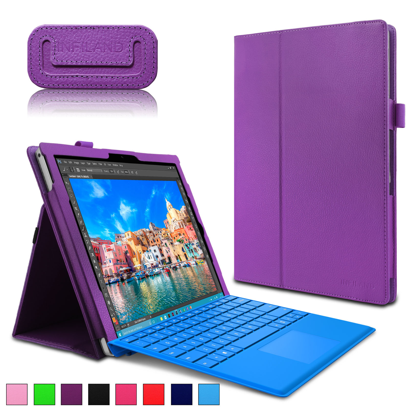 Infiland Folio PU Leather Cover Case For Microsoft Surface Pro 4 12.3-inch Tablet, Purple