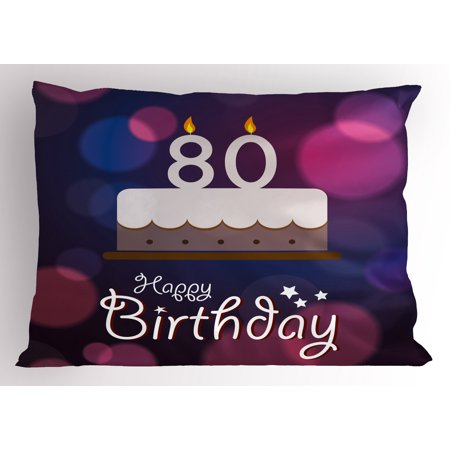 80th Birthday Pillow Sham Abstract Style Backdrop with Birthday Party Cake and Candles Print, Decorative Standard Size Printed Pillowcase, 26 X 20 Inches, Purple Pink and Lilac, by Ambesonne (Party Pillowcase)