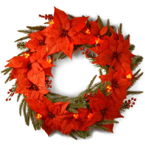 24 in. Poinsettia Pre-Lit LED Christmas Wreath - Battery Operated
