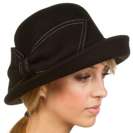 Sakkas Bobbi Vintage Style Wool Cloche Bell Derby Hat - Black - One Size - Black Felt Derby Hat