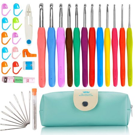 GLiving Best 37PCS Crochet Hooks Set, Extra Long Crochet Hooks and Ergonomic Soft Grip - Satisfy Arthritic Hands. Including Stitch Markers and Measure Tape. Sizes 2mm ~