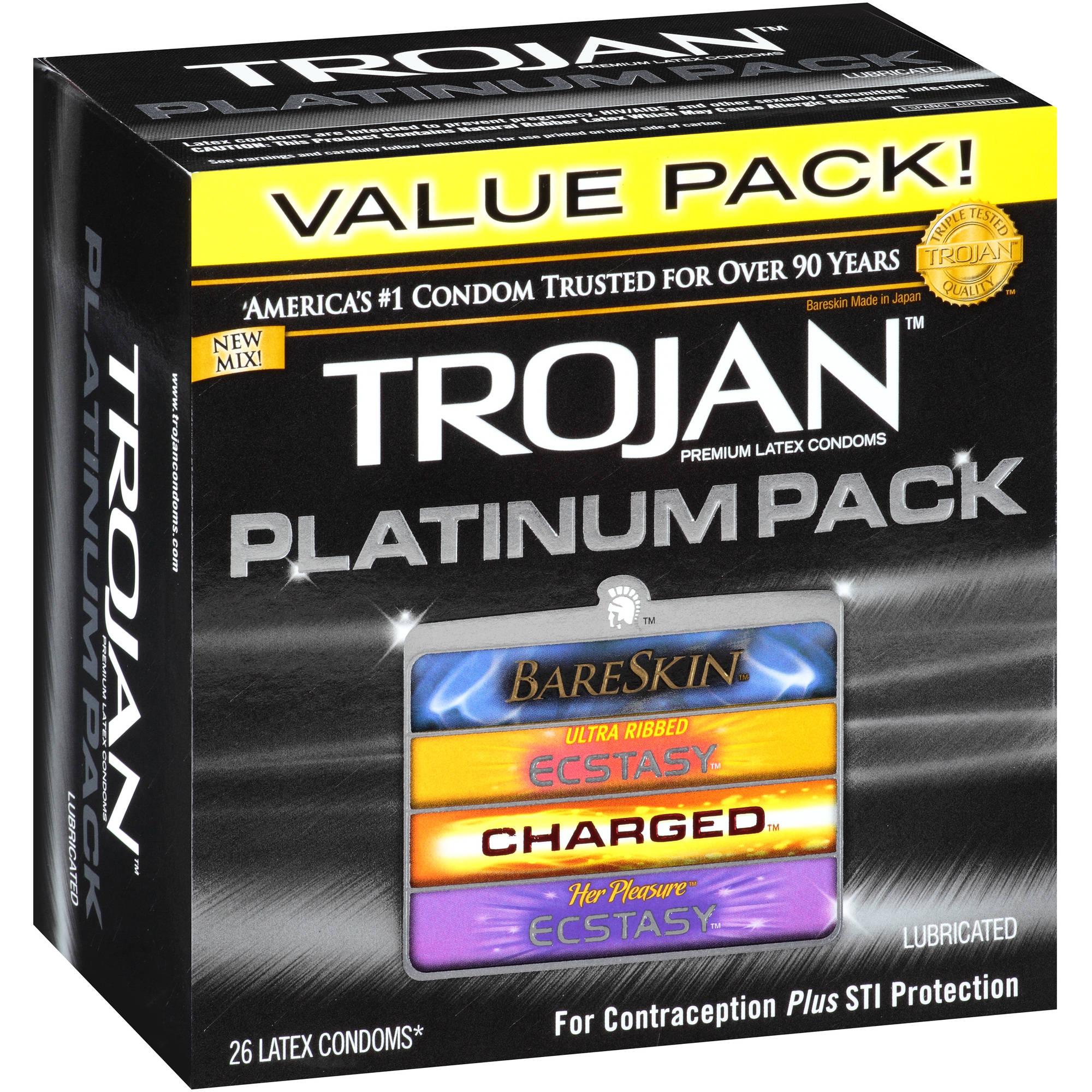 Trojan Platinum Pack Assorted Lubricated Latex Condoms - 26 ct