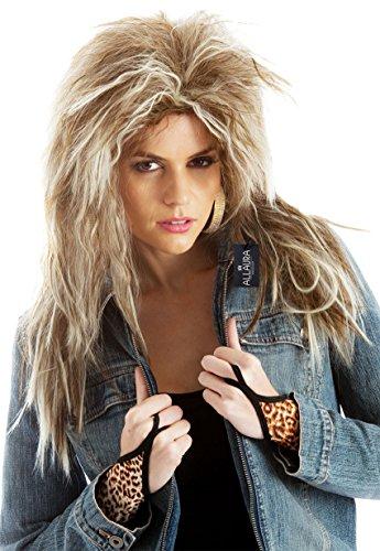 Allaura 80s Rock Diva Tina Turner Brown Blonde Rocker Costume Wig