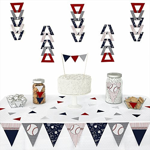 Batter Up - Baseball - Triangle Baby Shower or Birthday Party Decoration Kit - 72 Pieces