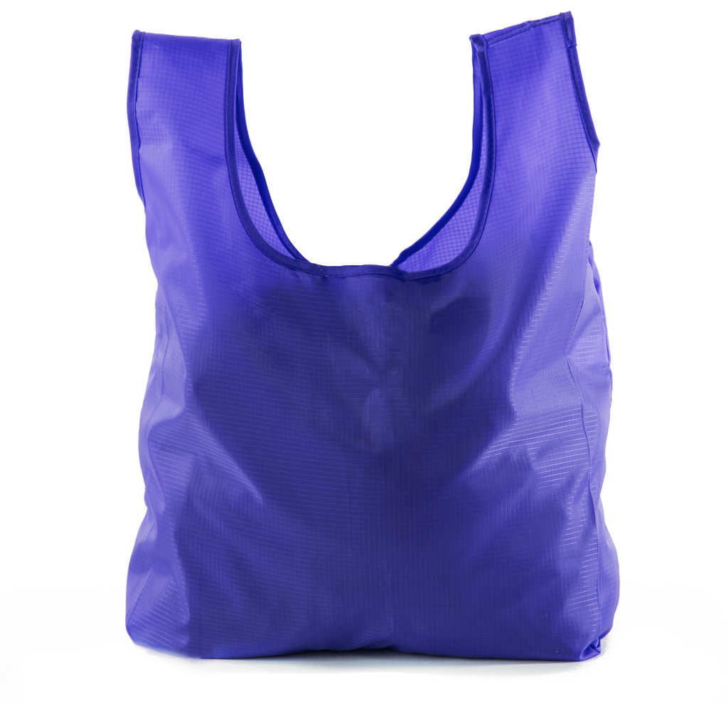 Reusable Grocery Bags | Foldable w/ Integrated String Pouch | Ripstop Nylon Tote - 4PK Purple CA2650