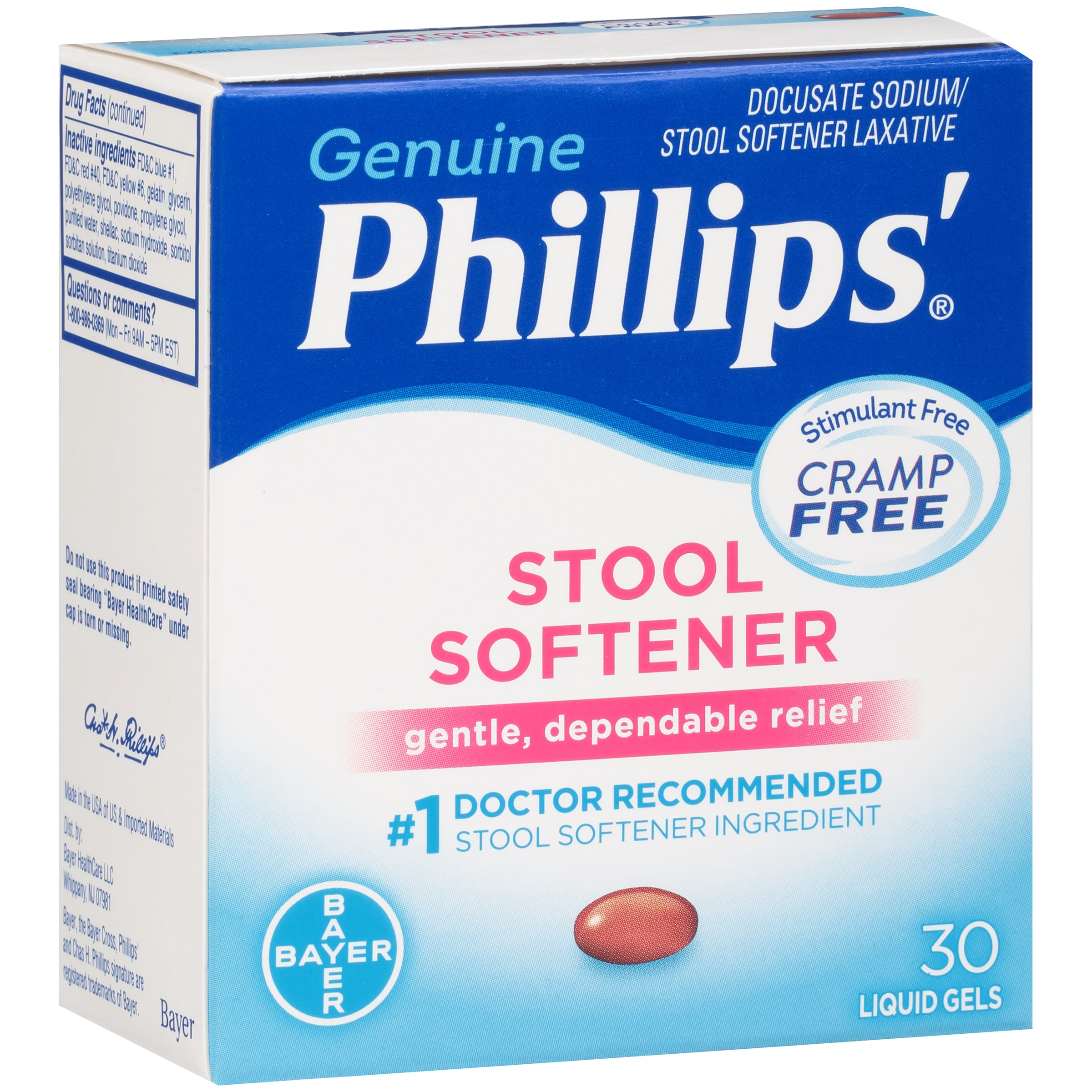 Genuine Phillips'�� Stool Softener Liquid Gels 30 ct Box