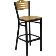 Offex OF-XU-DG-6H3B-SLAT-BAR-NATW-GG Hercules Series Slat Back Metal Restaurant Bar Stool with Natural Wood Back and Seat, Multi