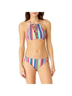 f414d329849e8 Product Image No Boundaries Juniors  Strappy Printed High-Neck Two-Piece  Bikini Set  Buy