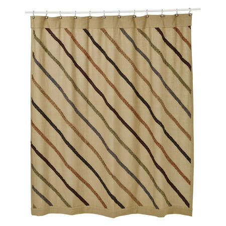 VHC Lewiston Burlap Ruffled Unlined Shower Curtain