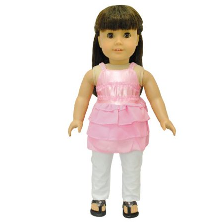 Doll Clothes - Pink Tank Top Shirt Blouse Outfit Set Fits American Girl Doll and 18 inch Dolls - image 1 of 6