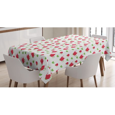 Tea Party Tablecloth, Teapots with Polka Dots and Leaves Tea Time Image Beverage British Design, Rectangular Table Cover for Dining Room Kitchen, 60 X 84 Inches, Dark Coral Green, by Ambesonne