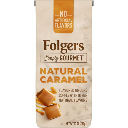 Folgers Simply Gourmet Natural Caramel Flavored Ground Coffee, With Other Natural Flavors, 10-Ounce Bag