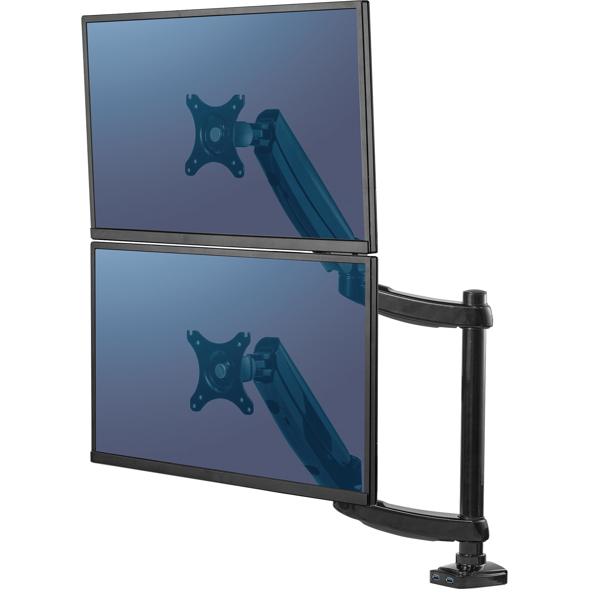Fellowes, FEL8043401, Platinum Series Dual Stacking Monitor Arm, 1 Each, Black