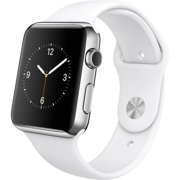 Refurbished Apple Watch 42mm Stainless Steel with White Sport Band MJ3V2LL/A