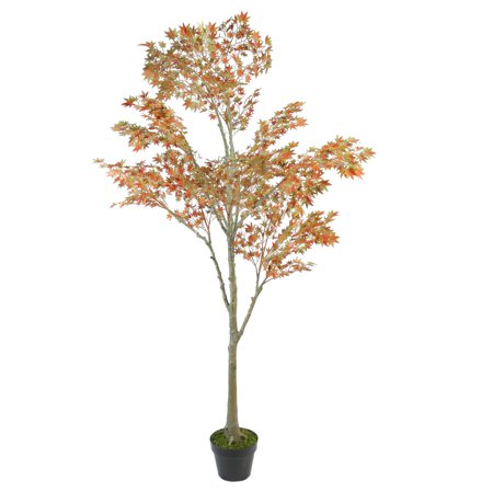 5.5' Autumn Harvest Orange Japanese Maple Artificial Potted Thanksgiving Tree
