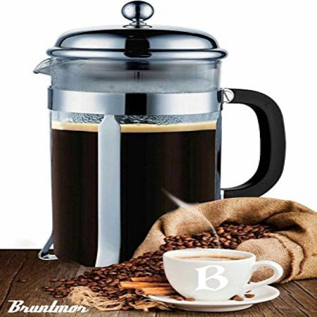 Bruntmor French Press Coffee and Tea Maker with 3 Bonus Filter Screens, 34 oz,