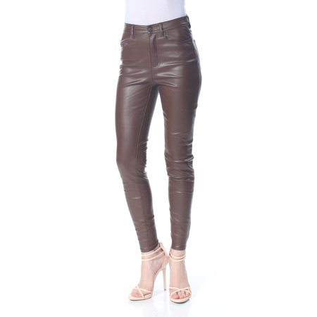FREE PEOPLE Womens Brown Faux Leather  High Rise Pants  Size: 27 Waist Design Genuine Leather Ladies Pants