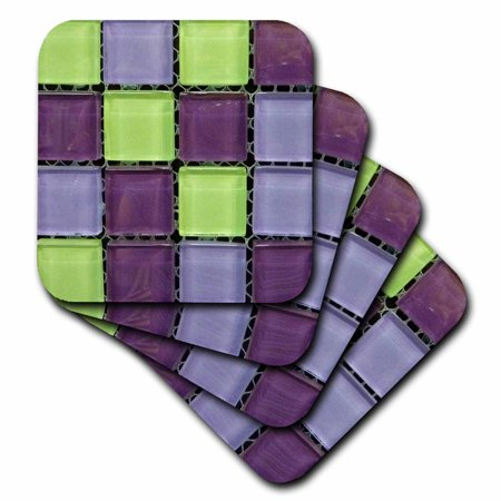 3dRose Popular Green n Purple Glass Tiles On Grid, Soft Coasters, set of 4 by