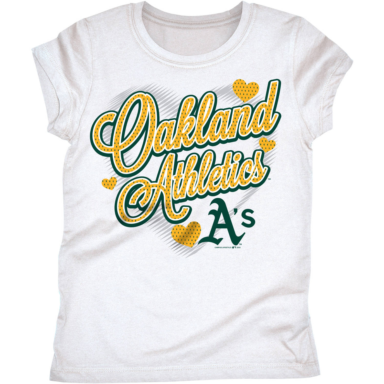 MLB Oakland Athletics Girls Short Sleeve White Graphic Tee