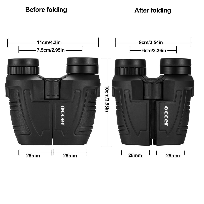 Outdoors Travel Sightseeing 12x25 Binoculars with Low Light Night Vision ENHOOTA Waterproof Large Eyepiece Binoculars for Adults /& Kids Hunting Compact Easy Focus Binoculars for Bird Watching