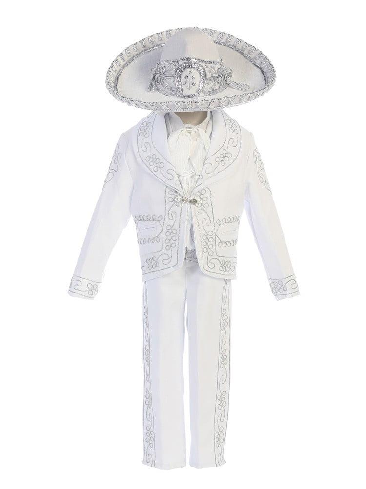Angels Garment Little Boys White Dove Cross Motif Charro Baptism Outfit