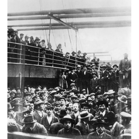 Immigrants 1900 Nitalian Immigrants On Board Ship In New York Harbor Photograph 1900 Rolled Canvas Art -  (24 x 36)
