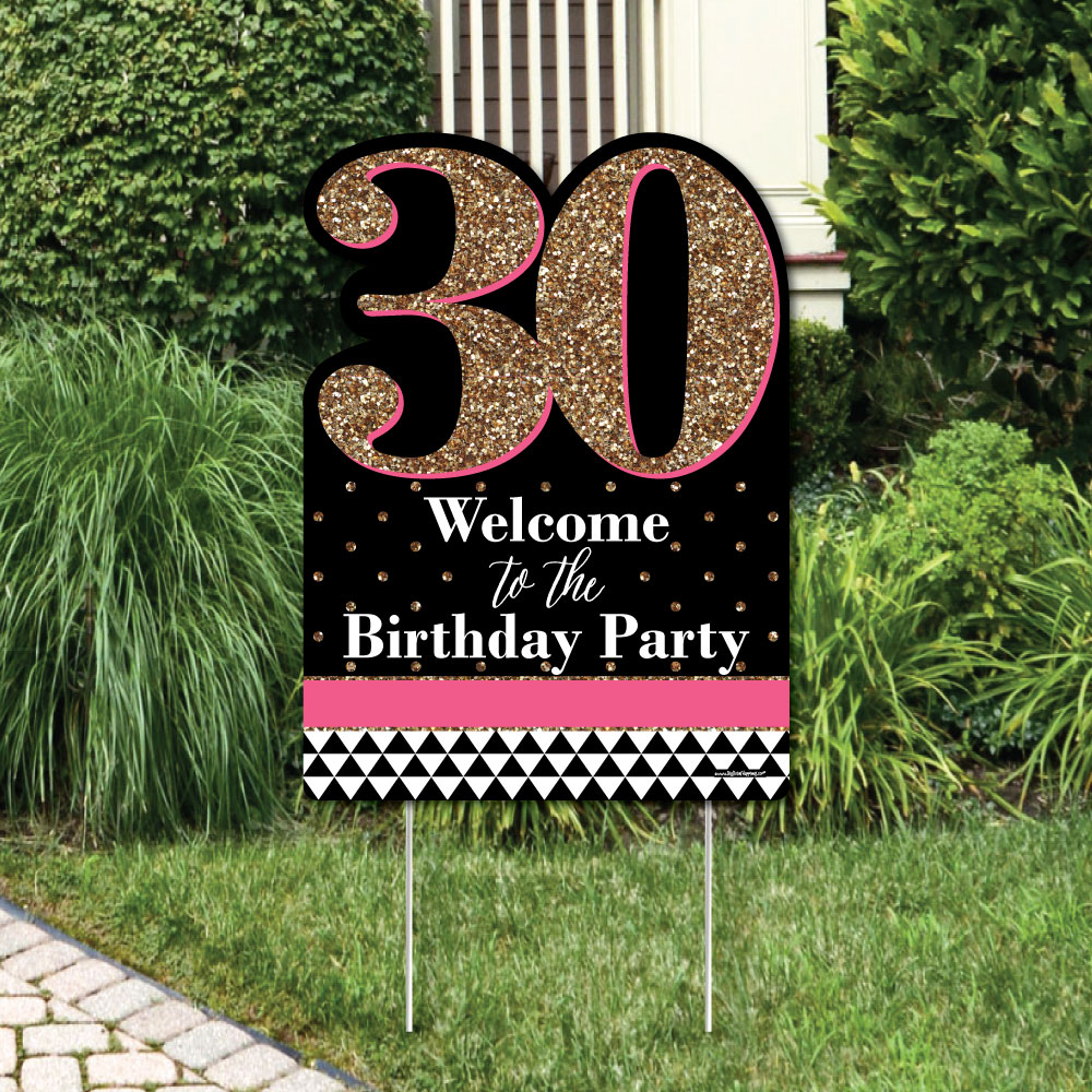 Chic 30th Birthday - Pink, Black and Gold - Party Decorations - Birthday Party Welcome Yard Sign
