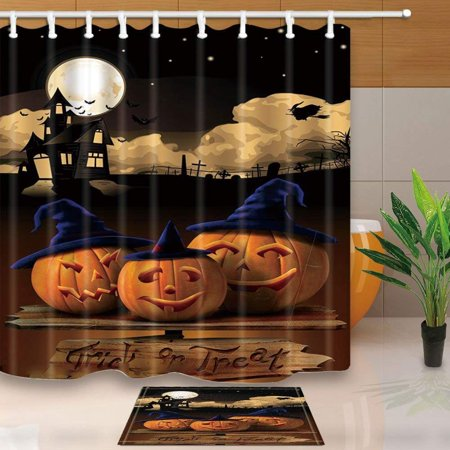 WOPOP Trick or Treat Decor Pumpkin with Cosplay Hat on Wooden Floor for Halloween Shower Curtain 66x72 inches with Floor Doormat Bath Rugs 15.7x23.6 inches](Level 5 On 100 Floors Halloween)